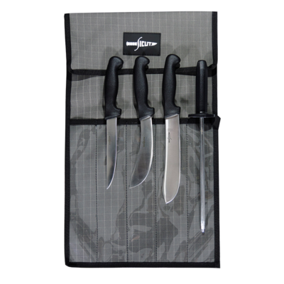 "SICUT BUTCHER KNIFE PACKAGE BLACK HANDLE 8"" BUTCHER - 6"" SKINNER - 6"" BONER - 10"" STEEL - 5 PCE KNIFE WRAP"
