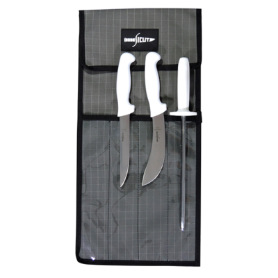 "SICUT STD KNIFE PACKAGE WHITE HANDLE 6"" SKINNER - 6"" BONER - 10"" STEEL - 4 PCE KNIFE WRAP"