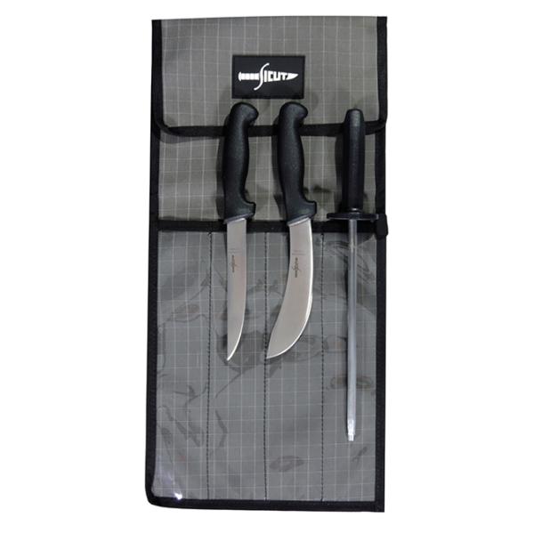 "SICUT STD KNIFE PACKAGE BLACK HANDLE 6"" SKINNER - 6"" BONER - 10"" STEEL - 4 PCE KNIFE WRAP"